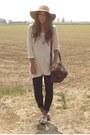 Camel-blanco-oxford-shoes-shoes-navy-skinny-zara-jeans-camel-floppy-hat-bers