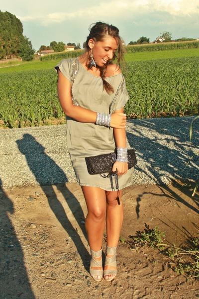 silver Zara dress - silver made in Marrakech shoes - black Zara purse - silver n