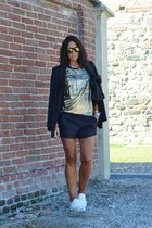 gold SwayChic top - black Zara blazer - black Zara shorts