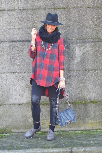 tawny italian brand shirt - heather gray Dr Martens shoes - black H&M leggings