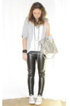 Zara blazer - H&M shirt - Zara pants - converseall star shoes - balenciaga purse