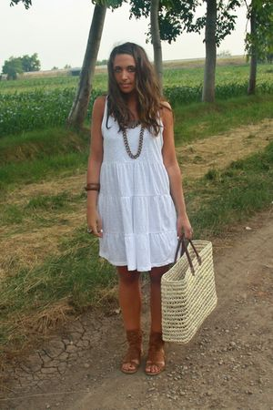 white H&amp;M dress - beige made in Marrakech purse - brown Zara shoes - brown H&amp;M b