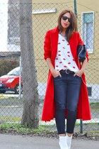 red Sheinside coat - white H&M boots - dark gray Zara jeans - black Zara bag