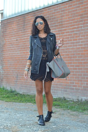 black persun boots - black Sheinside dress - silver Celine bag