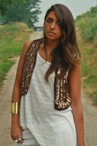 brown Mango vest - white H&M shirt - gold made in Sorrento bracelet - gold H&M a