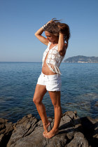 white H&M shorts - white H&M vest - silver H&M and vintage accessories