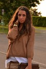 Bronze-zara-sweater-brown-pyton-clutch-vintage-bag-brown-leather-belt-h-m-be