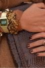 Bronze-zara-sweater-brown-pyton-clutch-vintage-bag-brown-leather-belt-h-m-be