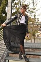 black Zara skirt - black boots Zara boots - black diy jacket DIY jacket