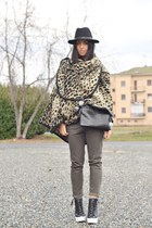 camel Bershka cape - black Zara hat - black Bershka man sweater