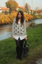 heather gray benetton sweater - ivory no brand shirt - black H&M skirt - black Z