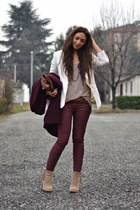brick red H&M coat - camel Forever 21 boots - ivory H&M blazer