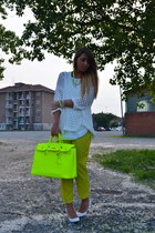 chartreuse no brand bag - white Zara shoes - white Zara sweater