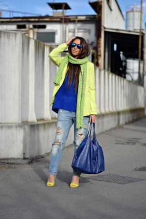 chartreuse H&amp;M shoes - silver Zara jeans - blue H&amp;M sweater