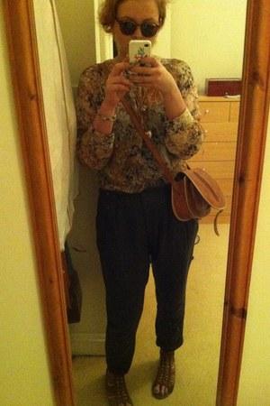 floral Topshop blouse - vintage bag - kharki peg Topshop pants - Fossil glasses
