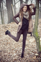black bag - brown 100 polyester jacket - brown pants - black suede wedges