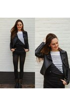 black jumper - black leather Nelly jumper