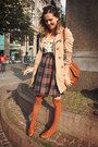 Tan-coat-burnt-orange-socks-tawny-accessories-navy-skirt-cream-top