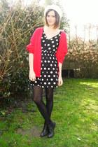 black dress - red cardigan