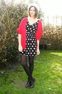 black dress - red cardigan