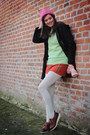 Red-skirt-dark-brown-shoes-black-coat-bubble-gum-hat-lime-green-sweater