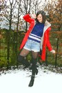 Light-blue-shorts-red-coat-navy-jumper-black-socks-black-boots-heather