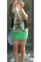 vest - H&M blouse - neon skirt