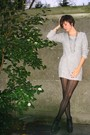 Gray-sweater-black-tights-black-boots-necklace