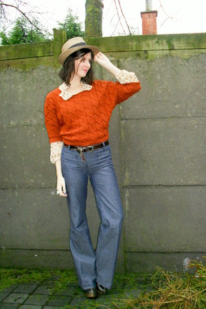 blue jeans - camel hat - burnt orange sweater - camel blouse - dark brown belt -