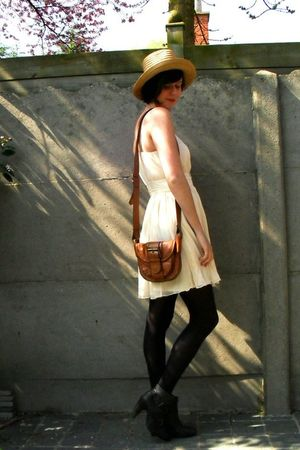 white dress - blue cardigan - brown purse - black boots - yellow hat