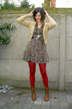 gold necklace - brown boots - crimson dress - ruby red tights - camel cardigan