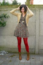 brown boots - crimson dress - ruby red tights - dark brown belt - camel cardigan