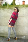 Magenta-sweater-light-pink-shorts-heather-gray-socks-dark-brown-shoes