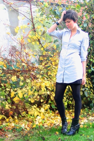 Pimkie blouse - H&M skirt - tights - new look boots - COS bracelet