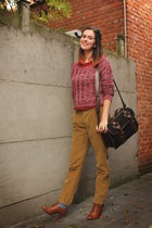 mustard pants - brick red sweater - black bag - periwinkle socks - ruby red top