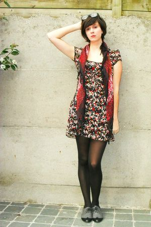 red dress - red scarf - black tights - gray shoes