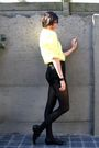 Yellow-blouse-black-shorts-black-shoes-black-bracelet