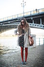 Gray-shoes-black-dress-camel-coat-carrot-orange-tights-tawny-bag