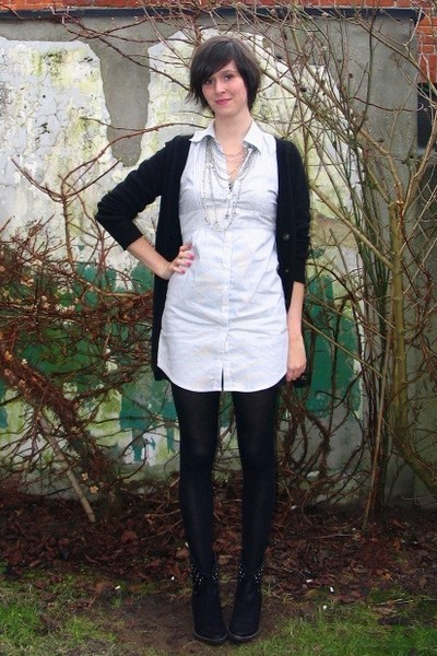 white dress - black boots - black cardigan - silver necklace - black tights