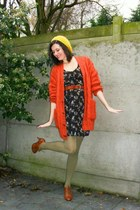 black dress - carrot orange cardigan - dark khaki tights - tawny shoes - mustard