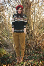 forest green sweater - tawny boots - brick red hat - mustard pants