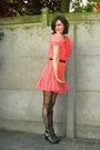 Red-dress-black-belt-black-tights-black-shoes