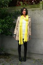 white dress - yellow scarf - beige coat - black boots - gray cardigan