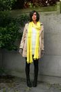 White-dress-yellow-scarf-beige-coat-black-boots-gray-cardigan
