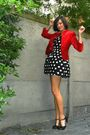 Black-dress-red-blazer-black-shoes