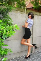 black skirt - blue top - black shoes