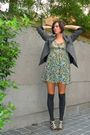 Blue-dress-gray-socks-gray-jacket-beige-shoes-blue-necklace