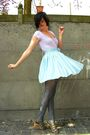 Purple-top-blue-skirt-blue-tights-beige-shoes