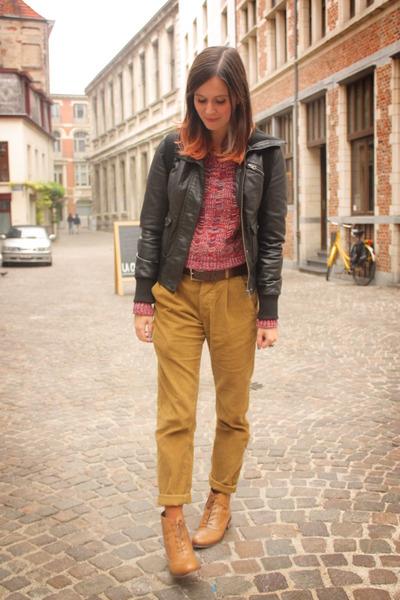 mustard pants - black jacket - brick red sweater