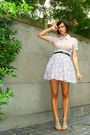 Purple-blouse-purple-skirt-beige-shoes-black-belt